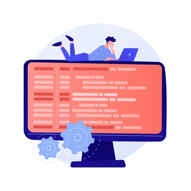 オンラインデータベースの絵に寝転がった男性がノートパソコンを見ている画像